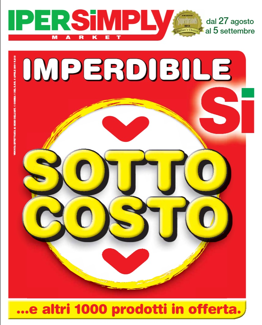 Volantino iper simply offerte al 9 settembre 2015 for Volantino iper conveniente