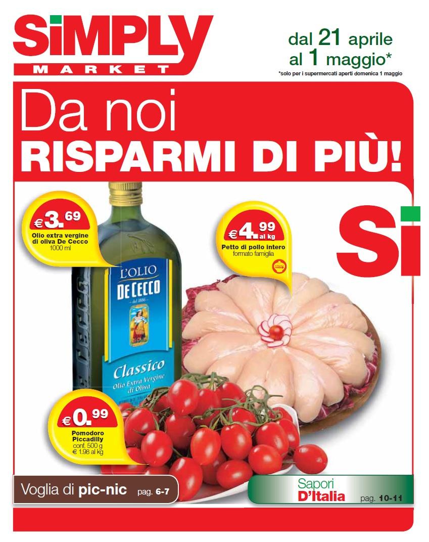Volantino simply market 21 aprile 4 maggio 2016 for Simply messina volantino