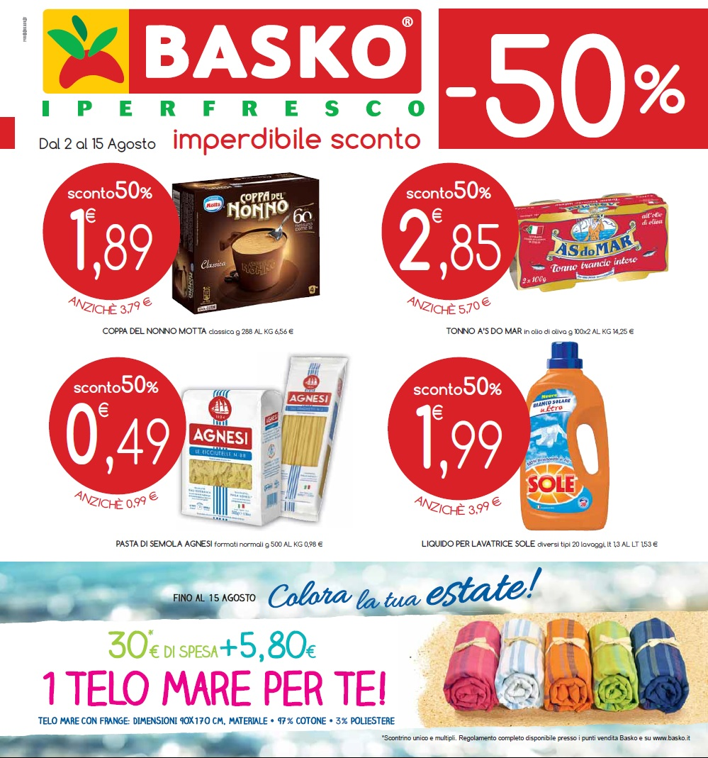0495091ccb Volantino Basko Iperfresco offerte valide al 15 agosto 2016 ...