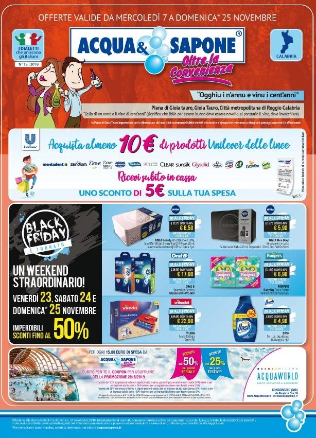 Volantino acqua sapone black friday 7 25 novembre 2018 for Volantino acqua e sapone novembre 2017